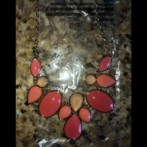 NWT matching necklace and earrings, coral/gold